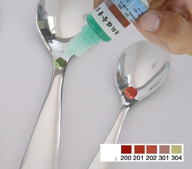 Nhận biết inox 304 và 201 bằng thuốc thử inox